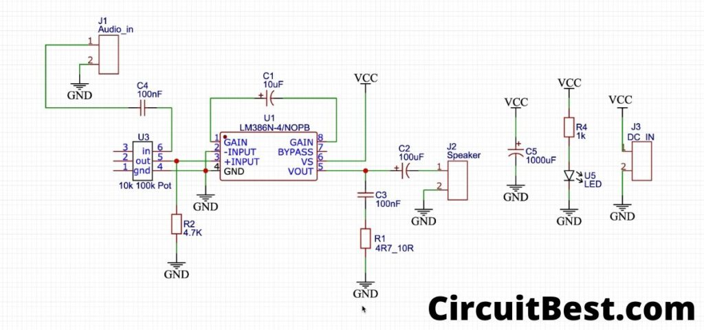 Simple audio amplifier circuit with LM386
